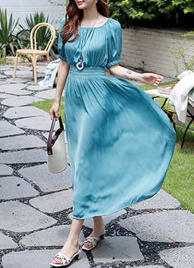 Satin Shirred Maxi Dress, Styleonme