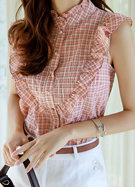 Check Print Frill Sleeveless Blouse, Styleonme