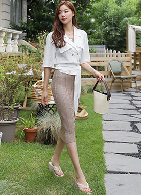 Double-Breasted Linen Short Jacket, Styleonme