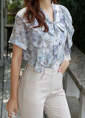 Floral Print Tie Neck Ruffle Blouse, Styleonme