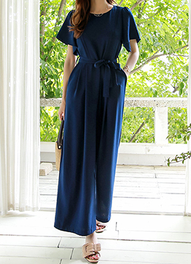Flared Sleeve Wide Leg Jumpsuit , Styleonme