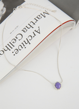 Purple Stone Pendant Necklace, Styleonme