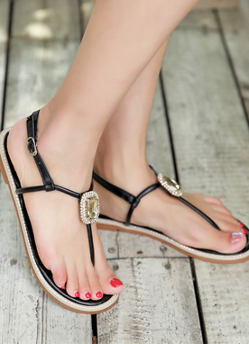 Cubic Jewel Thong Flat Sandals, Styleonme