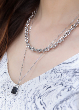 Lock & Chain Layered Necklace, Styleonme