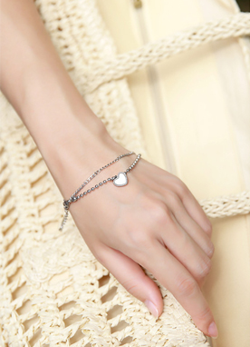 White Heart Layered Bracelet, Styleonme