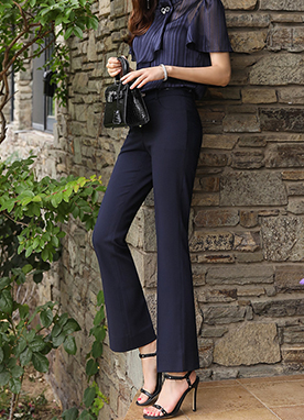 Side Slit Slim Fit Boot-Cut Slacks, Styleonme