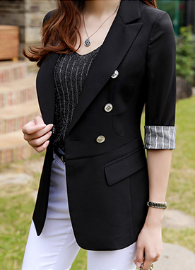 Quarter Sleeve Pinstripe Cuff Double-Breasted Jacket, Styleonme