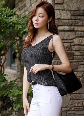 Pinstripe Sleeveless Knit Top, Styleonme