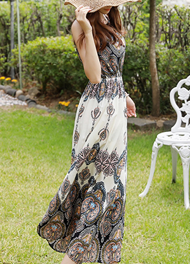Summer Paisley Print String Maxi Dress, Styleonme