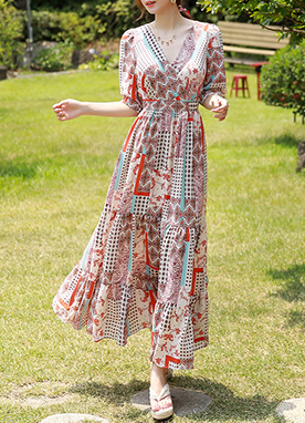 Vivid Ethnic Print V-Neck Maxi Dress, Styleonme