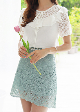 Lace Semi-Flared Skort, Styleonme