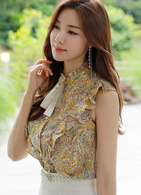 Paisley Print Pearl Button Frill Blouse, Styleonme