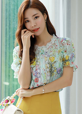 Floral Print Lace Pearl Button Blouse, Styleonme
