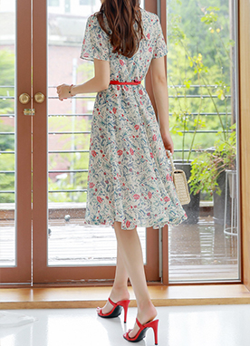 Floral Print Belt Set Chiffon Dress, Styleonme