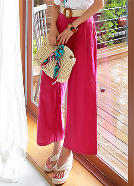 Vivid Color Linen-Blend Wide Leg Pants, Styleonme