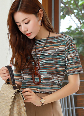 Graphic Stripe Boat Neck T-Shirt, Styleonme