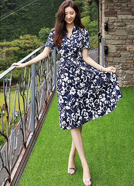Floral Print Collared Flared Dress, Styleonme