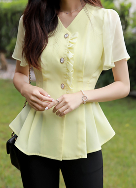 Jewel Button Frill Pintuck Blouse, Styleonme