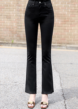 Cotton Semi-Boot Cut Pants, Styleonme