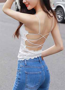 Back Cross Strap Lace Bustier Top, Styleonme
