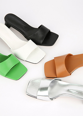 Simple Mule Heel Sandals, Styleonme
