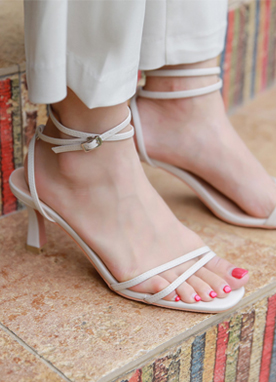 5Colors Ankle Strap Mid-Heels, Styleonme
