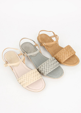 Cross Knit Strap Flat Sandals, Styleonme
