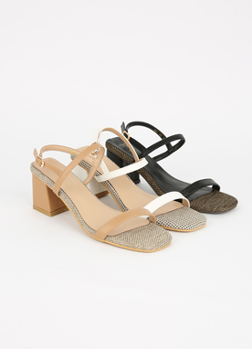 Canvas Thin Strap Sandal Heels, Styleonme