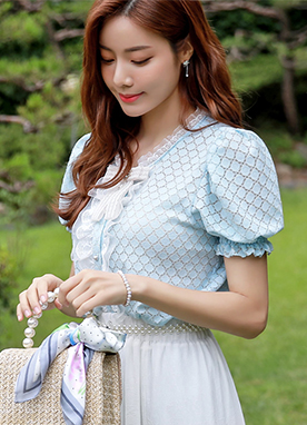 Lace Trim Dot Lace Puff Sleeve Blouse, Styleonme