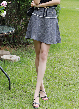 Pearl Button Summer Tweed Flared Skort, Styleonme