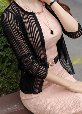 See-through Pinstripe Cardigan, Styleonme