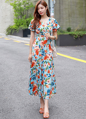 Tropical Floral Print Wrap Style Maxi Dress, Styleonme
