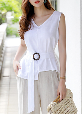 Belt Strap Linen-Blend Sleeveless Blouse, Styleonme