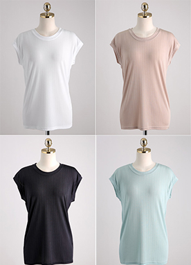 5Colors Ribbed Slim T-Shirt, Styleonme