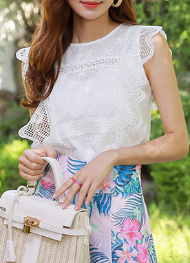 Romantic Mood Lace Sleeveless Top, Styleonme