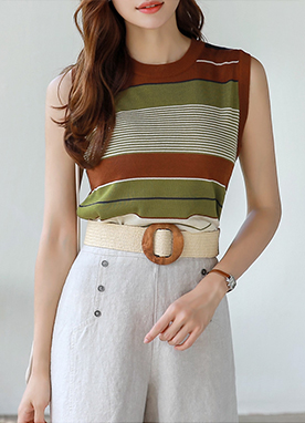 Color Stripe Sleeveless Knit Top, Styleonme
