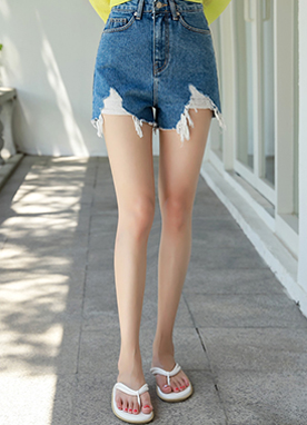 Damaged Denim Shorts, Styleonme