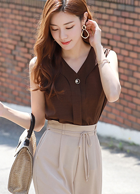 Pearl Button Sleeveless Blouse, Styleonme
