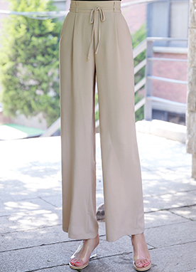 Ribbon Tie Wide Leg Slacks, Styleonme
