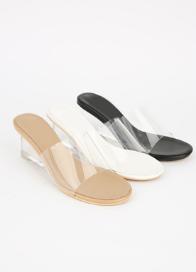 PVC Wedge Mules, Styleonme