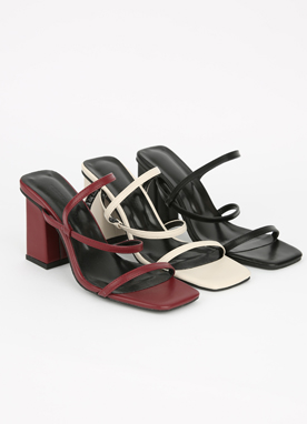 3Colors Thin Strap Mid-Heel Sandals, Styleonme
