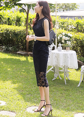 Floral Lace Sleeveless Dress, Styleonme