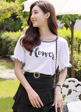 FLOWER Pearl Accent Puff Sleeve T-Shirt, Styleonme