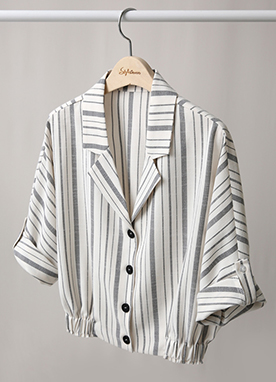 Pinstripe Short Shirt Jacket, Styleonme