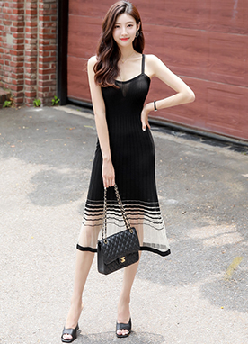 See-through Hem Ribbed Slim Fit Knit Dress, Styleonme