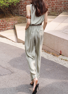 Silky Wrinkled Sleeveless Top & Pants Set, Styleonme