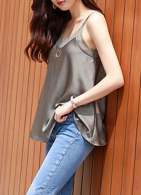 See-through Silky Flared Camisole Top, Styleonme