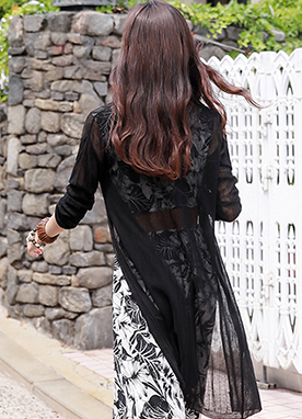 See-through Ribbed Long Cardigan, Styleonme
