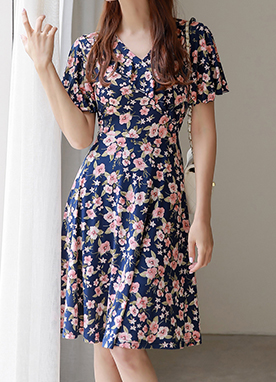 Floral Print Frill Wrap Style Dress, Styleonme