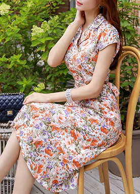 Floral Print Collared Long Dress, Styleonme